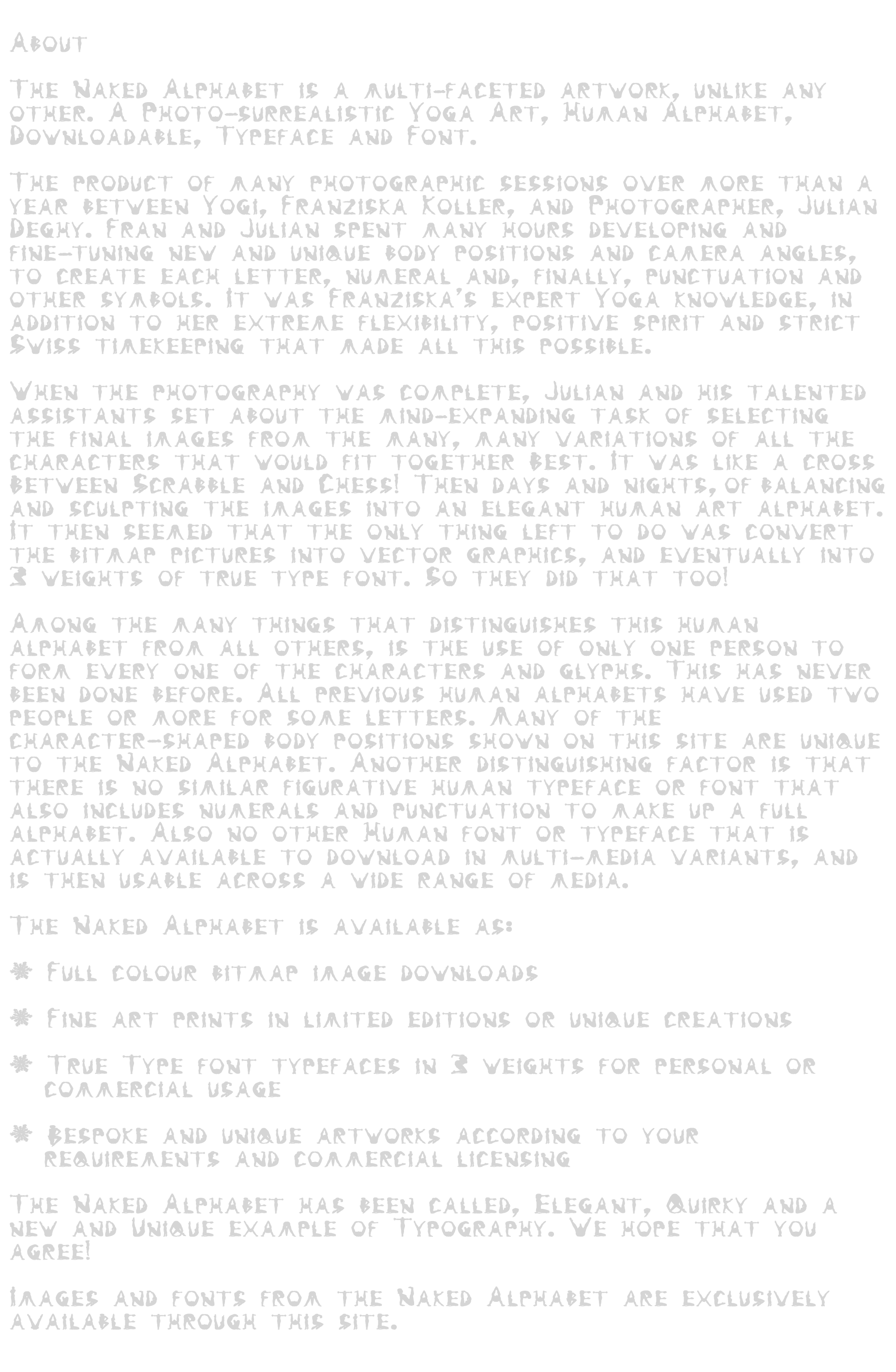 Nakedalphabet.com About us page text as NA Heavy Font as image png file
