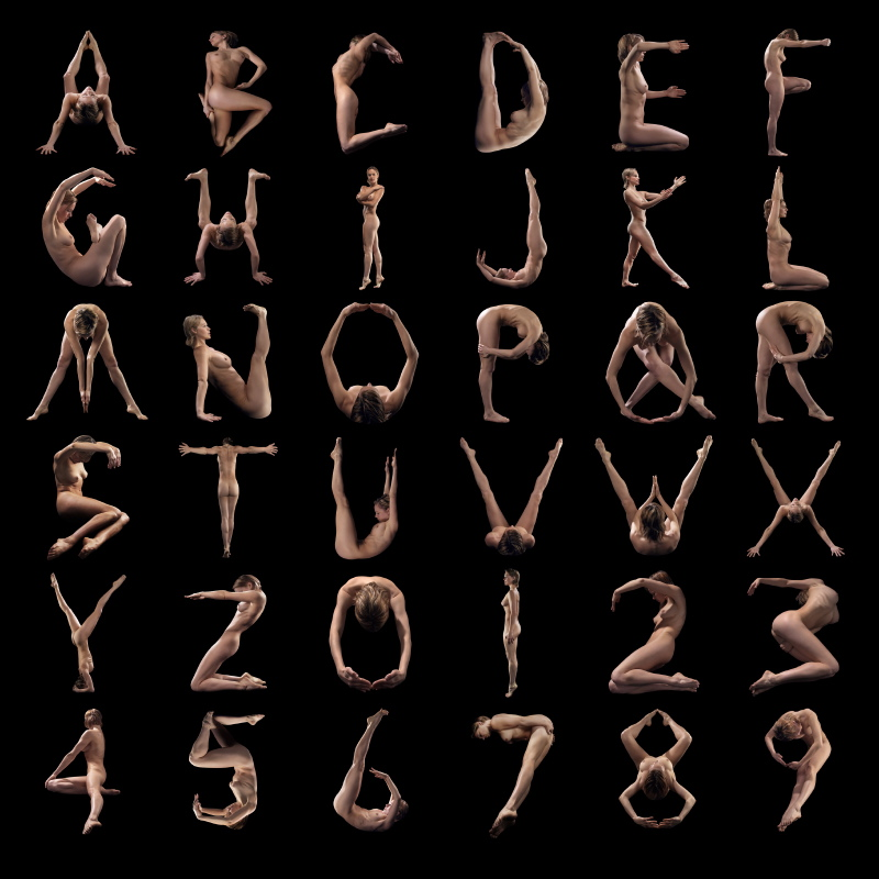 NakedAlphabet.com Human Alphabet
